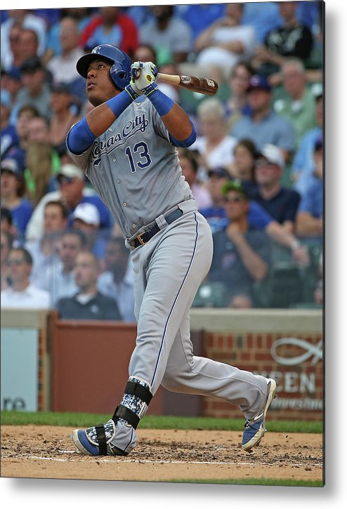 Salvador Perez Diaz Metal Print featuring the photograph Kansas City Royals V Chicago Cubs by Jonathan Daniel