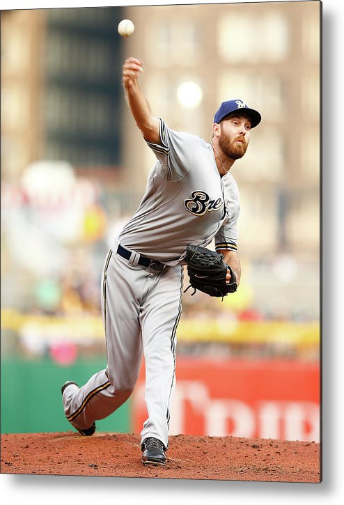 American League Baseball Metal Print featuring the photograph Milwaukee Brewers V Pittsburgh Pirates by Jared Wickerham