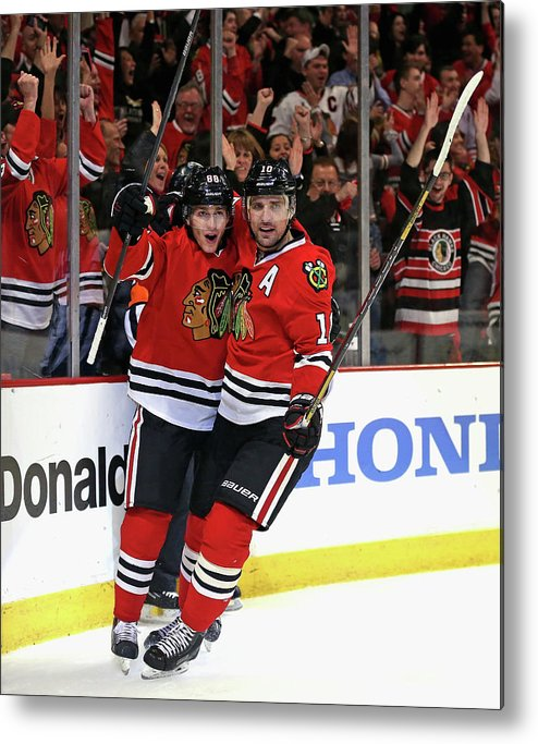 Playoffs Metal Print featuring the photograph St. Louis Blues V Chicago Blackhawks - by Jonathan Daniel