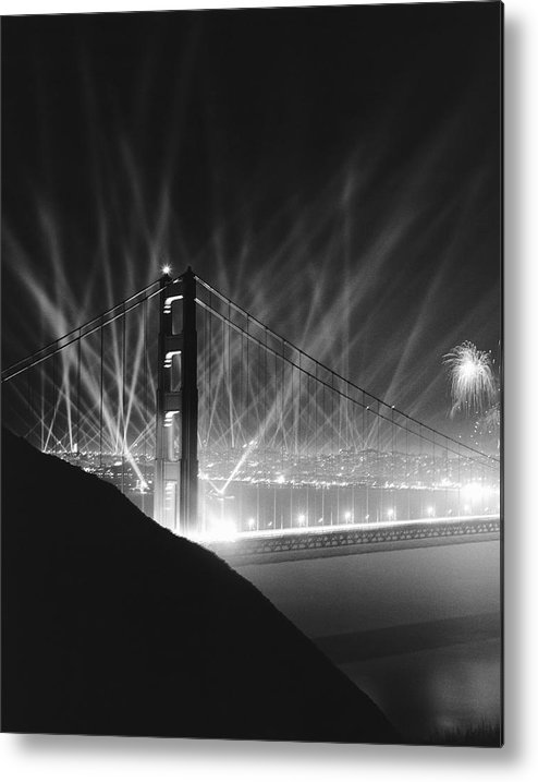 1930's Metal Print featuring the photograph Golden Gate Bridge Opening by Underwood Archives