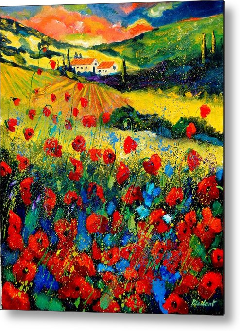 Flowersn Landscape Metal Print featuring the painting Poppies in Tuscany by Pol Ledent