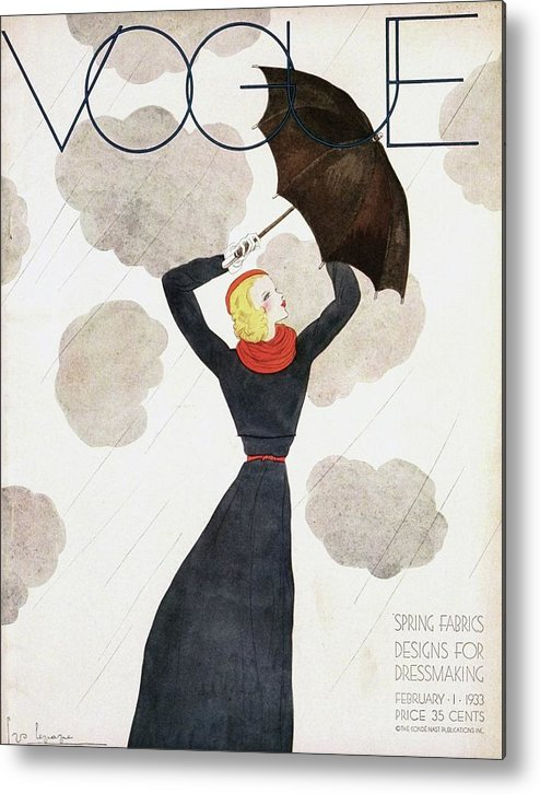 Fashion Metal Print featuring the photograph A Vintage Vogue Magazine Cover Of A Woman by Georges Lepape