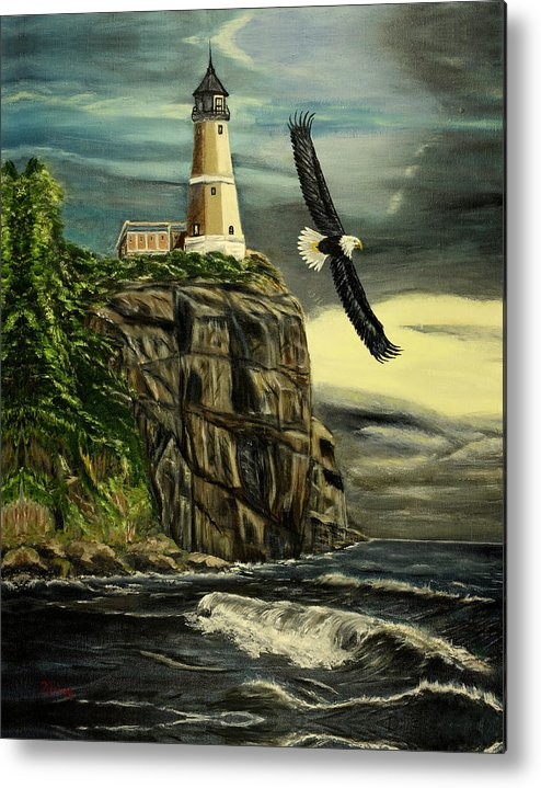 Landscape Metal Print featuring the painting Lighthouse Eagle by Kenneth LePoidevin