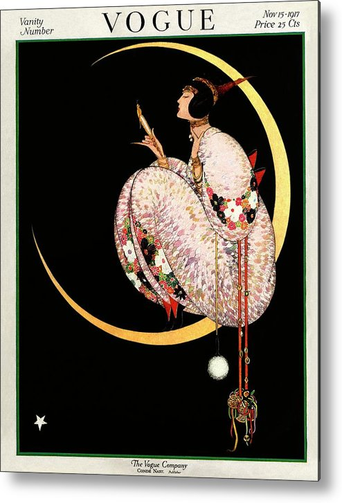 Illustration Metal Print featuring the photograph A Vintage Vogue Magazine Cover Of A Woman by George Wolfe Plank