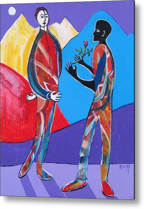 Race Metal Print featuring the painting A Gift by Rollin Kocsis