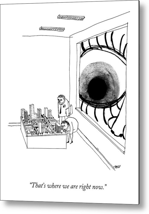 Maps Metal Print featuring the drawing A Man Looks Into The Window Of A Miniature by Edward Steed