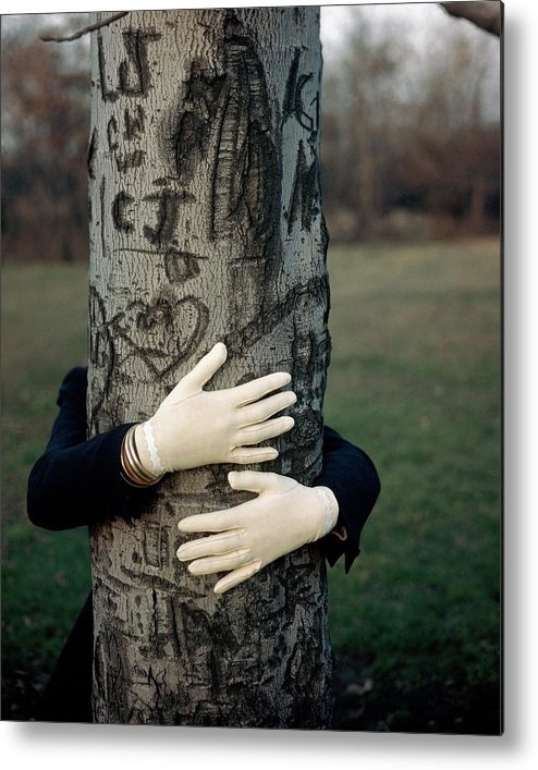 Fashion Metal Print featuring the photograph A Model Hugging A Tree by Frances Mclaughlin-Gill