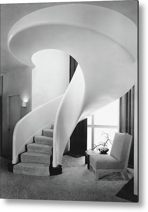 Interior Metal Print featuring the photograph A Spiral Staircase by Hedrich-Blessing
