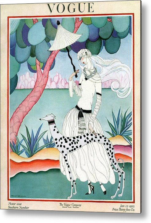 Illustration Metal Print featuring the photograph A Vogue Cover Of A Woman With A Dalmatian by Helen Dryden