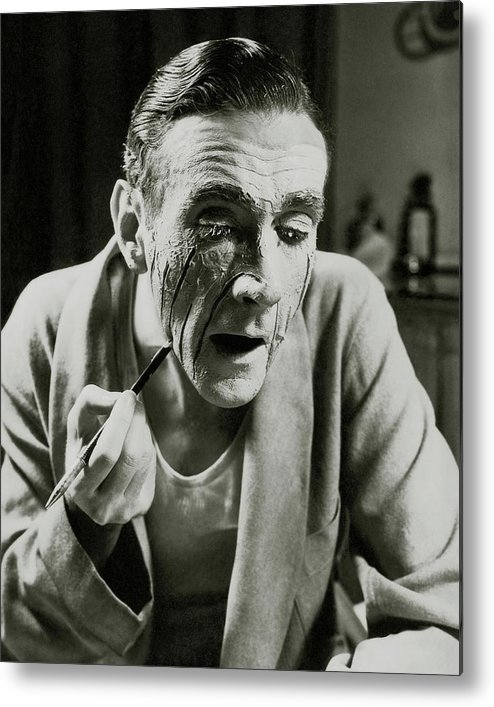 Actor Metal Print featuring the photograph Actor Clifton Webb Applying Make-up by Lusha Nelson