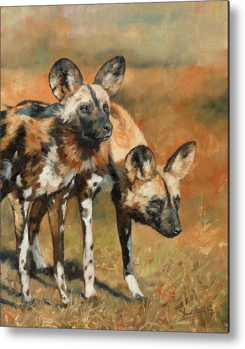 Wild Dogs Metal Print featuring the painting African Wild Dogs by David Stribbling