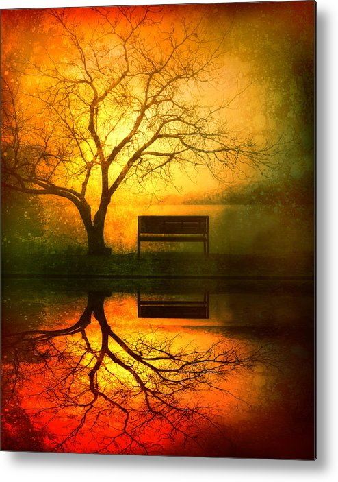 Bench Metal Print featuring the photograph And I Will Wait For You Until the Sun Goes Down by Tara Turner