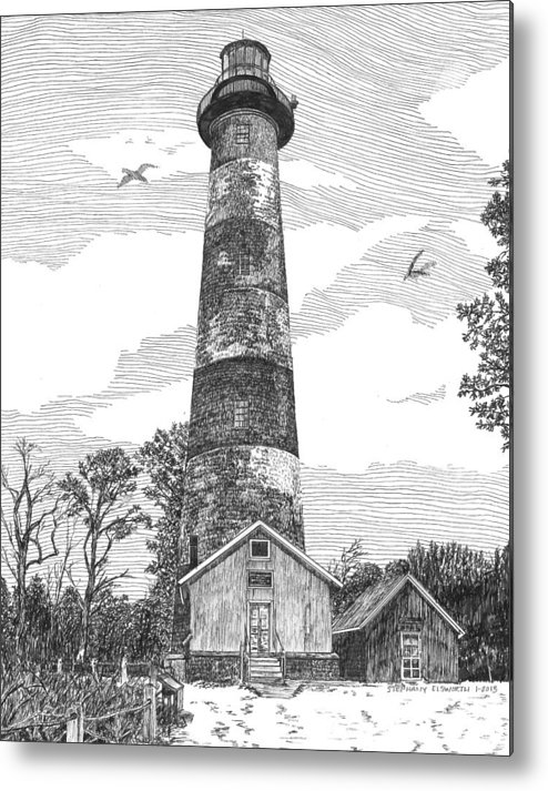 Assateague Island Metal Print featuring the drawing Assateague Island Lighthouse by Stephany Elsworth