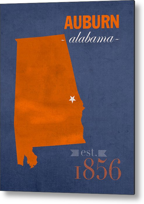 Auburn University Metal Print featuring the mixed media Auburn University Tigers Auburn Alabama College Town State Map Poster Series No 016 by Design Turnpike