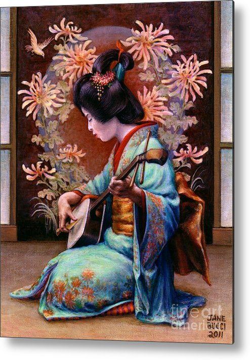 Woman Metal Print featuring the painting Autumn Song by Jane Bucci