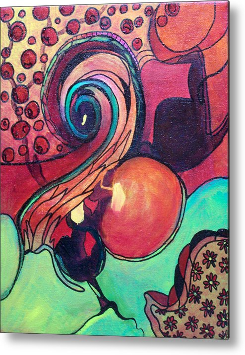 Spiral Metal Print featuring the painting Awakened Spiral by MtnWoman Silver