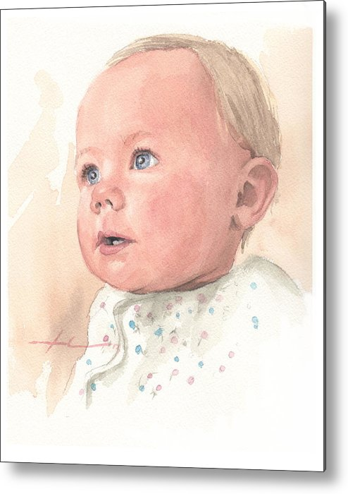 <a Href=http://miketheuer.com Target =_blank>www.miketheuer.com</a> Baby Girl Watercolor Portrait Metal Print featuring the drawing Baby Girl Watercolor Portrait by Mike Theuer