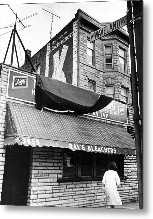 Retro Metal Print featuring the photograph Bar Outside Wrigley by Retro Images Archive