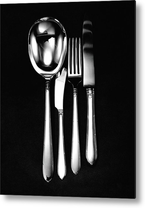 Home Accessories Metal Print featuring the photograph Berkeley Square Silverware by Martin Bruehl