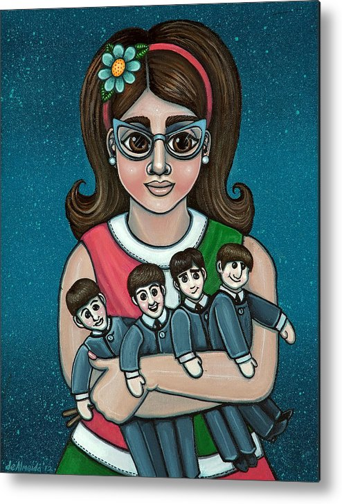 1960 Metal Print featuring the painting Betty Jeans BEATLES by Victoria De Almeida