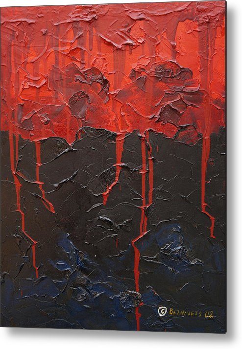 Fantasy Metal Print featuring the painting Bleeding sky by Sergey Bezhinets