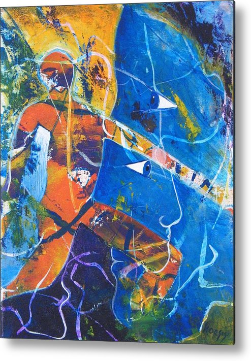 Face Metal Print featuring the painting Blurred Lines by Rollin Kocsis