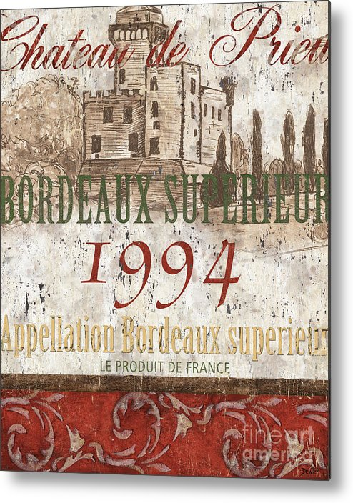 Wine Metal Print featuring the painting Bordeaux Blanc Label 2 by Debbie DeWitt