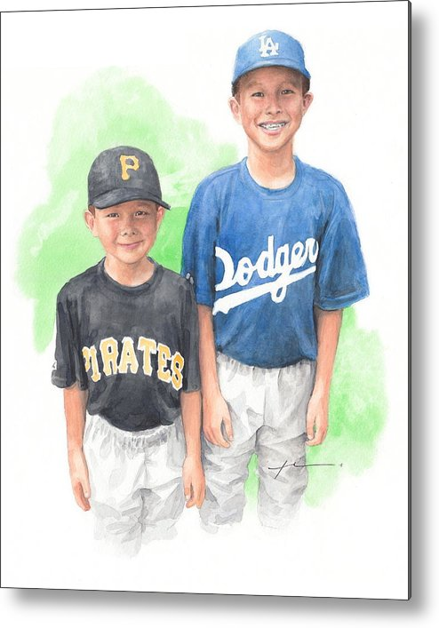 <a Href=http://miketheuer.com Target =_blank>www.miketheuer.com</a> Brothers In Baseball Watercolor Portrait Mike Theuer Metal Print featuring the painting Brothers In Baseball Watercolor Portrait by Mike Theuer