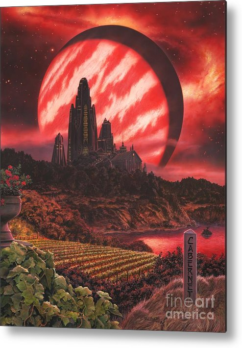 Cabernet Metal Print featuring the painting Cabernet Wine Country Fantasy by Stu Shepherd
