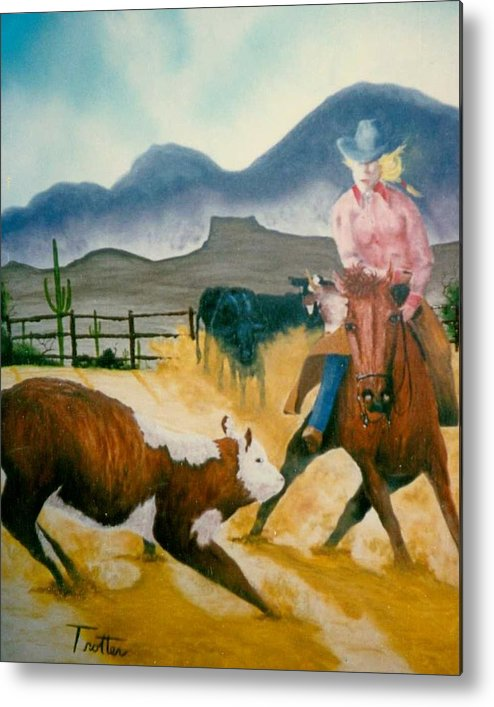 Calf Roping Metal Print featuring the painting Making the Cut by Patrick Trotter