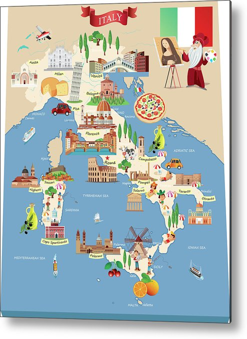 Adriatic Sea Metal Print featuring the digital art Cartoon Map Of Italy by Drmakkoy