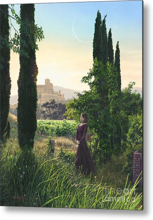 Wine Country Metal Print featuring the painting Chardonnay Wine Country Fantasy by Stu Shepherd