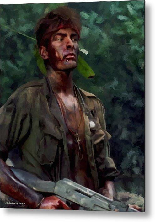 Platoon Metal Print featuring the digital art Charlie Sheen in Platoon by Gabriel T Toro