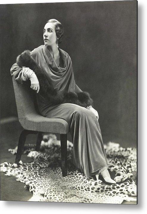 Fashion Metal Print featuring the photograph Countess Celani Lepri Wearing A Velvet Dress by George Hoyningen-Huene