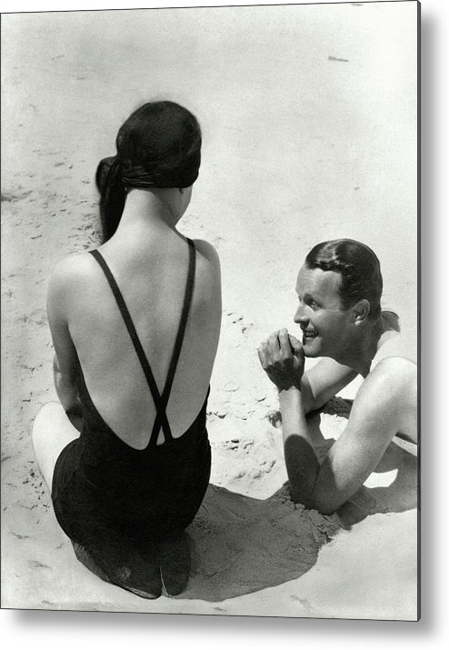 Outdoors Metal Print featuring the photograph Couple On A Beach by George Hoyningen-Huene