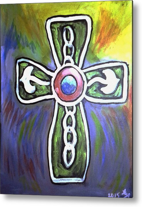 Cross Metal Print featuring the painting Cross 2015 by Loretta Nash