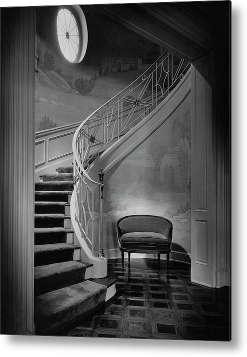 Interior Metal Print featuring the photograph Curving Staircase In The Home Of W. E. Sheppard by Maynard Parker