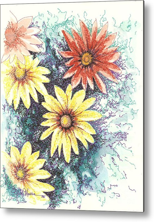 Daisies Metal Print featuring the mixed media Dazzeled by Brian Edward Harris