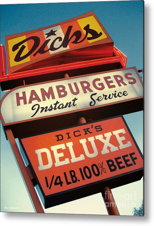 Burgers Metal Print featuring the digital art Dick's Hamburgers by Jim Zahniser