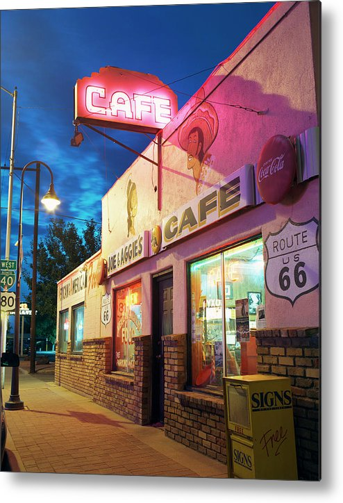Shadow Metal Print featuring the photograph Diner Along Route 66 At Dusk by Gary Yeowell