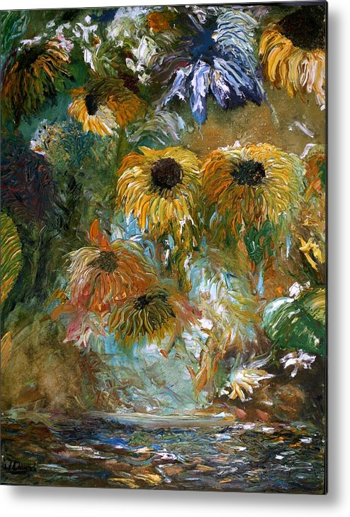Oil Painting Metal Print featuring the painting Flower Rain by Jack Diamond