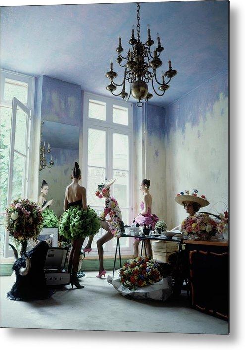 Fashion Metal Print featuring the photograph Four Models Inside Christian Lacroix's Studio by Arthur Elgort