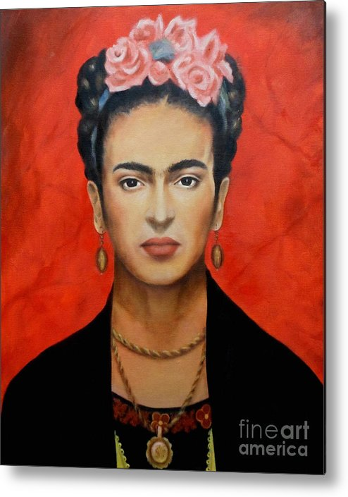 Frida Metal Print featuring the painting Frida Kahlo by Yelena Day