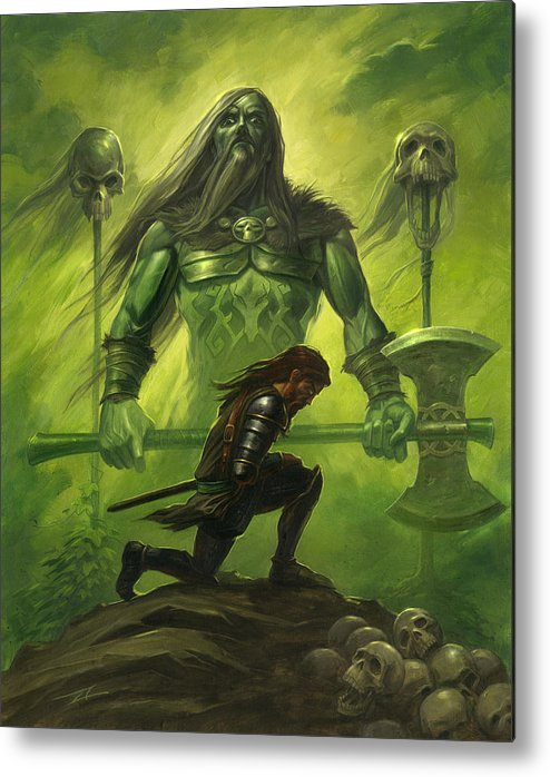 Warrior Metal Print featuring the painting Gawain and the Green Knight by Alan Lathwell