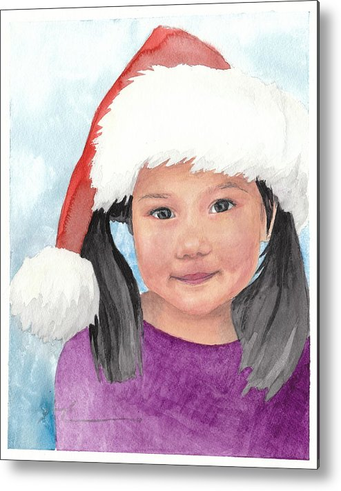 <a Href=http://miketheuer.com Target =_blank>www.miketheuer.com</a> Girl In Santa Hat Watercolor Portrait Metal Print featuring the painting Girl In Santa Hat Watercolor Portrait by Mike Theuer