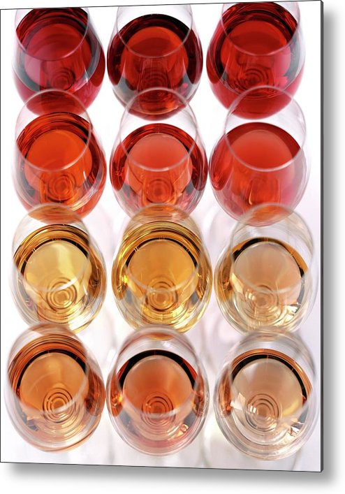 Food Metal Print featuring the photograph Glasses Of Rose Wine by Romulo Yanes