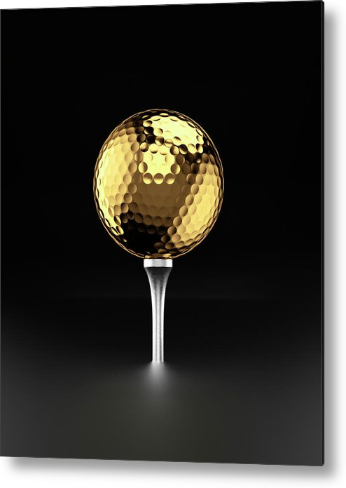 Two Objects Metal Print featuring the photograph Golfball And Alluminium Golf Tee by Atomic Imagery