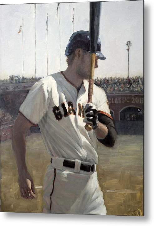 Hunter Pence Metal Print featuring the painting Hunter Pence On Deck by Darren Kerr
