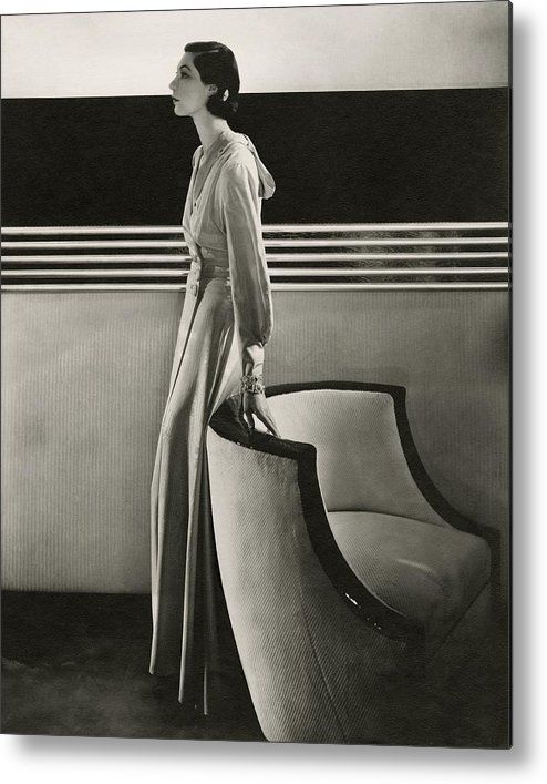 Fashion Metal Print featuring the photograph Ilka Chase Wearing Black Starr And Frost-gorham by Edward Steichen