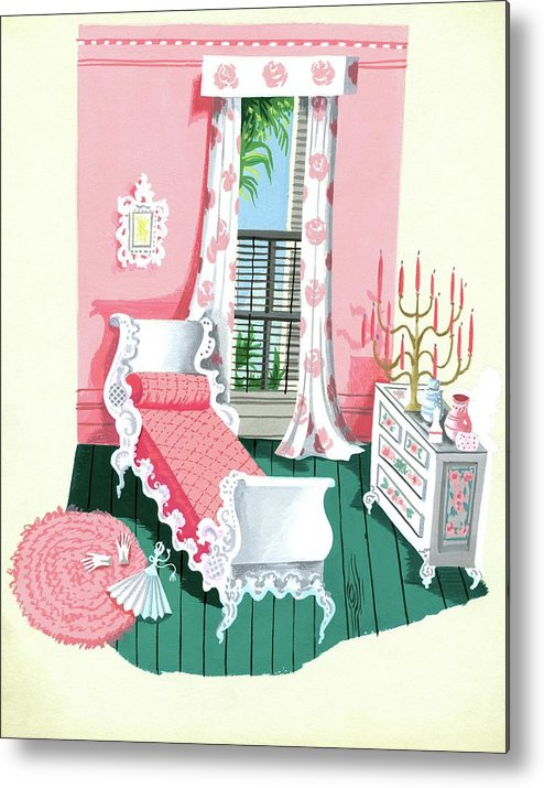 Bedroom Metal Print featuring the digital art Illustration Of A Victorian Style Pink And Green by Edna Eicke